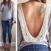 Long Sleeve Backless Blouse [7955681159]