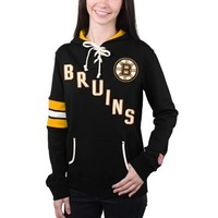 Women's Boston Bruins Old Time Hockey Black Nadia Lace-Up Pullover Hoodie