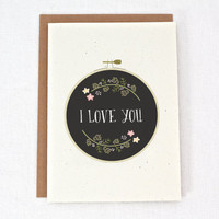 Embroidery I Love You - Love - Anniversary - Wedding Card