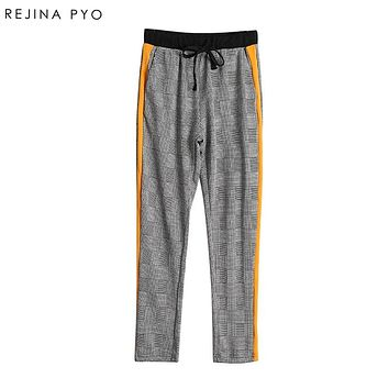 REJINAPYO Women Chic Side Stripe Plaid Pant Elastic Drawstring Pockets England Style Lady Fashion Casual Ankle-length Trousers