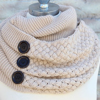Winter  infinity scarf  made from  knitted   fabric soft and cute
