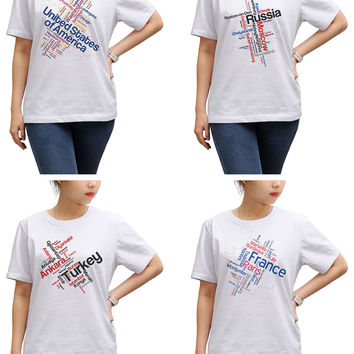 Women Maps of Countries Printed Round Neck Short Sleeve T- Shirt WTS_17
