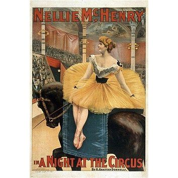 A NIGHT AT THE CIRCUS vintage poster NELLIE MCHENRY ballerina horse 24X36