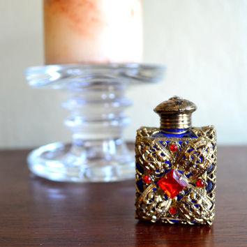 Spectacular Vintage Ormolu Perfume Bottle, Jeweled Miniature Gilt Metal Perfume Bottle, Blue Glass, Czech? , circa 1920s