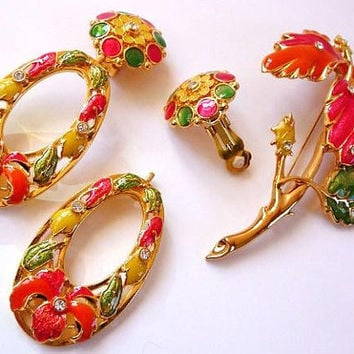 Jose Maria Barrera brooch clip earrings set | enameled | rhinestones |  Avon Fashion Flowers | vintage 1994 designer signed