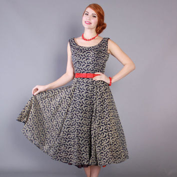 50s Bow Print Flocked Velvet Cocktail DRESS / Vintage 1950s Party Dress Navy Blue and Cream with Full Skirt, s