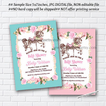 Carousel invitation, Merry go round baby shower , pony vintage design for baby girl shower retro invite circus - card 848