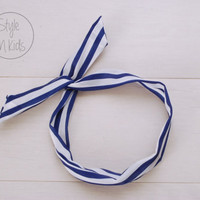 VIVID BLUE Striped Wire Headband Bow Headband Toddler Headband Adult Rockabilly Headband Retro Tie UP Headband