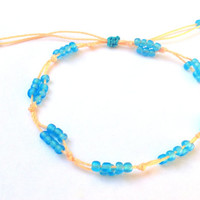 Peach string anklet with blue beads, string ankle bracelet, peach anklet, beaded anklet, adjustable anklet, blue anklet, dainty anklet