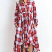 Charlotte Plaid Maxi Dress