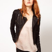 Warehouse Leather Look Biker Jacket at asos.com