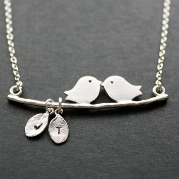Kissing love birds necklace personalized engraved by DelicacyJ