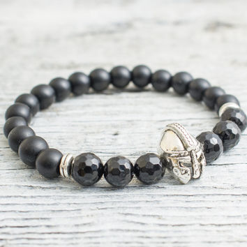 Matte black onyx stone and faceted onyx beaded silver Spartan helmet stretchy bracelet, mens bracelet, womens bracelet