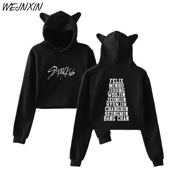 WEJNXIN Kpop StrayKids Sexy Cropped Hoodies Women Kawaii Cat Ears Pullovers Kpop StrayKids Member Name Print Crop Tops