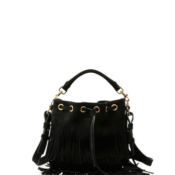 Emmanuelle Small Suede Fringe Bucket Bag, Black - Saint Laurent