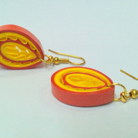 Paper Earring Yellow and Saffron