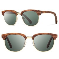Women's Shwood 'Eugene' 54mm Polarized Wood Sunglasses - Redwood Gold/ Polar