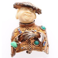 Har Laughing Chinaman Brooch with Rhinestones | VintageAnelia - Jewelry on ArtFire