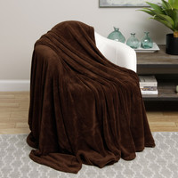 Ultra Plush Chocolate Brown Design Queen Size Microplush Blanket