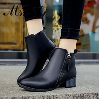 Ankle High Pointed Toe Side Zipper Thick Square Medium Heels Women's Winter Boots