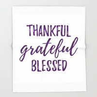 Thanksgiving Blanket, Fleece Throw, Thankful Grateful Blessed Decor, White and Plum, Purple Typography, Fall Cozy Blanket, Autumn Warmth