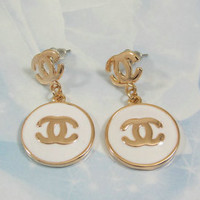 Chanel white and gold Vintage Inspired Earrings