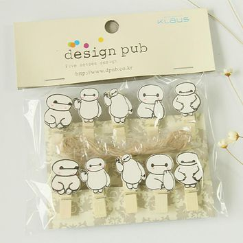 Kawaii  Big Hero 6 The Baymax Cartoon Wooden Clip Photo Paper Craft DIY Clips with Hemp Rope FOD