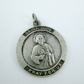 Vintage Sterling Silver Saint Jude Religious Medal Pendant Sterling Silver Religious Jewelry Pendant Lovely Design Mild Patina