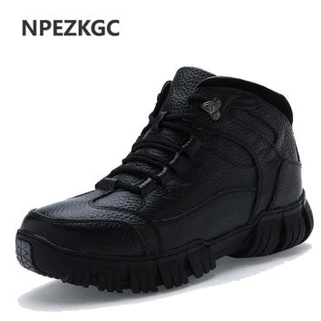 Men Leather Waterproof Rubber Snow Boots