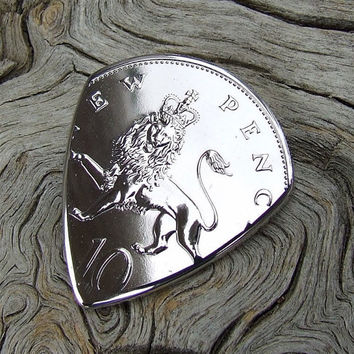 British Coin Guitar Pick - Handmade with a Vintage 1974 British 10 Pence Proof Coin