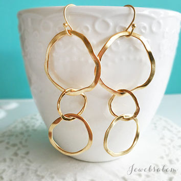 Circle Earrings, Triple Circle Dangle Earrings, Gold Infinity Joined Loops, Hoop Earrings, Mother Jewelry, Mama Jewellery, Mother Daughter