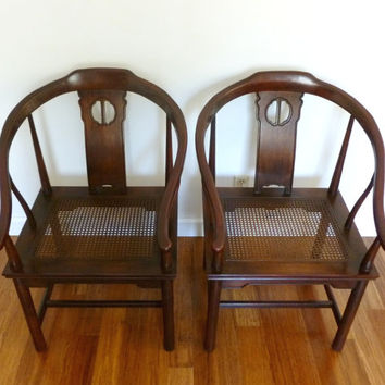 Vintage Pair Drexel Horseshoe Ming Style Chinoiserie Chairs Free Shipping!