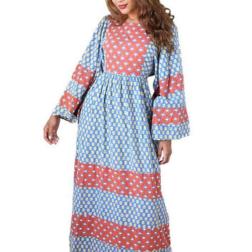 70s Boho Indian Print Cotton Maxi Dress-1970s Caftan-India-Bohemian-Hippie-Festival Dress-Empire-Kimono Sleeve-Block Print-Fits S-M-L-XL