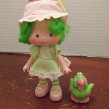 vintage 1980's strawberry shortcake lime chiffon doll with pet