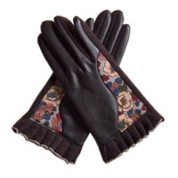 Winter Thicken Wool Women Mittens Golves Printed Fashion Pu And Wool Full Finger Gloves Sexy Coffee Knitting Ladies Gloves