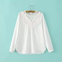 White Lace Long Sleeve Stand Collar Blouse