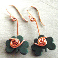 Shamrock Button Wire Wrapped Earrings