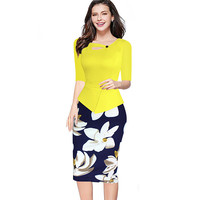 Elegant Women Autumn Winter Half Sleeve Office Business Sheath Pencil Dress Knee-Length Print Floral Bodycon Wear to Work Dress
