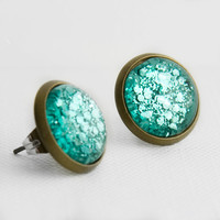 Aqua Chunky Glitter Post Earrings in Antique Bronze - Turquoise Aqua Mixed Hexagonal Glitter Stud Earrings