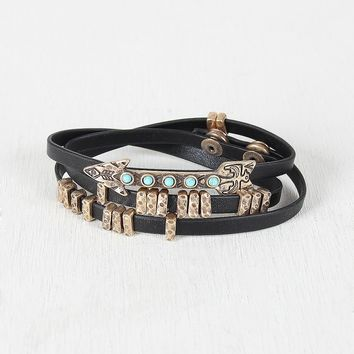 Turquoise Southwest Vegan Leather Wrap Bracelet