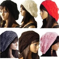 Handmade Women's Warm Winter Beret Braided Baggy Beanies Crochet Hat