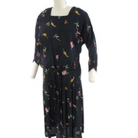 20s Inspired 1980s Black Floral Drop Waist Dress