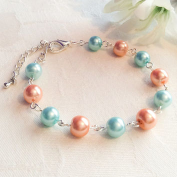 Coral & Turquoise Bracelet Coral Jewelry Turquoise Jewelry Bridesmaid Bracelet Bridesmaid Jewelry  Bridesmaid Gift Wedding