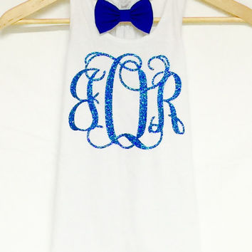 White Youth Flowy Tank with Bow with Glitter Vine Monogram / Gymnastics / Dance / Cheer / Soccer / Lacrosse / Track / Team Tanks