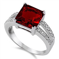 Sterling Silver Garnet and White CZ Ring