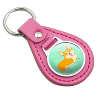 Quirky Corgi Pink Leather Keychain