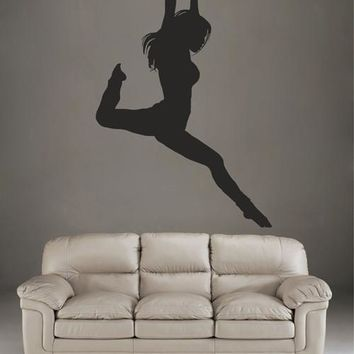 ik2312 Wall Decal Sticker gymnast girl dance pose beautiful living room bedroom gym