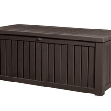 150 Gallon Plastic Deck Box Two-Seater Storage Bench Outdoor Furniture Brown