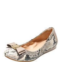 Quinn Snake-Embossed Ballet Flat, Natural/Roccia - Cole Haan