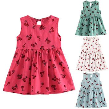 Cute Cherry Fruit Printed Girls Dress Sleeveless Summer Children Girls Princess Dresses For Party And Wedding